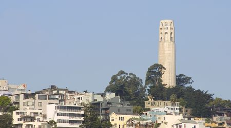 coit: San Franciscos Coit Tower on Telegraph Hill. Stock Photo