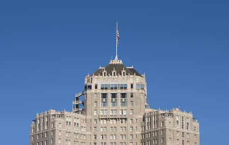 nob hill: The top of a fancy hotel on San Franciscos Nob Hill.