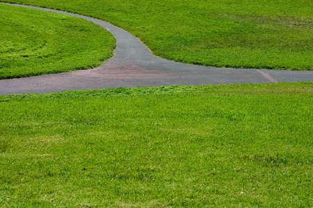 intersecting: Three intersecting paths through a green field of grass. Stock Photo