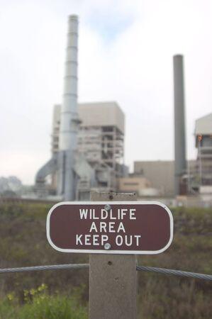 A wildlife area contains a large industrial plant. Reklamní fotografie