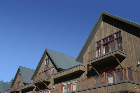 アルペン リゾートの心のこもった屋根。 写真素材