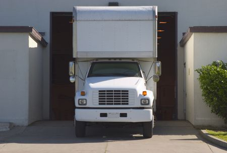 truckload: A truck in the loading dock.  Stock Photo