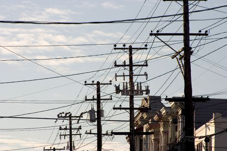 Utility polls and wires clog the sky in a San Francisco neighborhood. Reklamní fotografie
