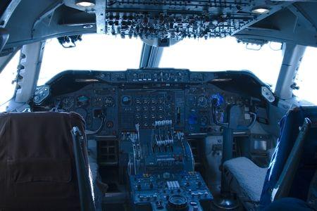 The complex world of a 747 jumbo-jet cockpit.