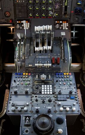 throttle: The complex throttle controls in a 747 jumbo-jet cockpit. Stock Photo