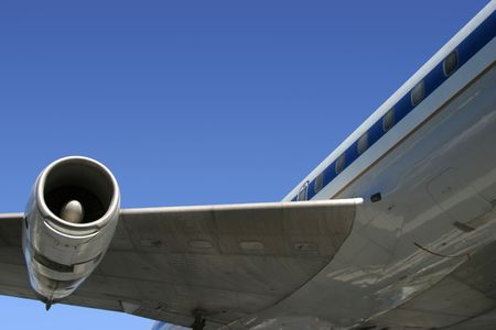 underbelly: A section of a jumbo jet, viewed from below.