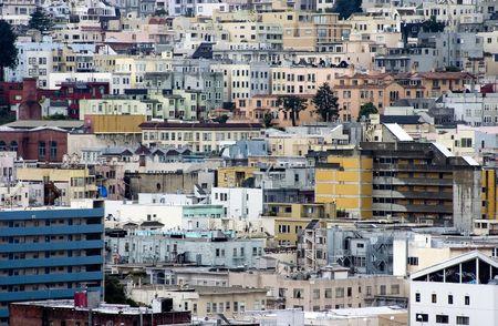 A dense collection of city buildings in San Francisco, California.