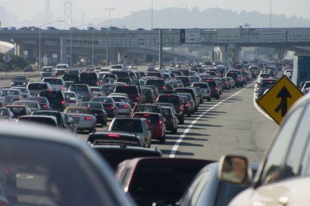bottleneck: Rush-hour traffic approaching the Oakland-San Francisco Bay Bridge.