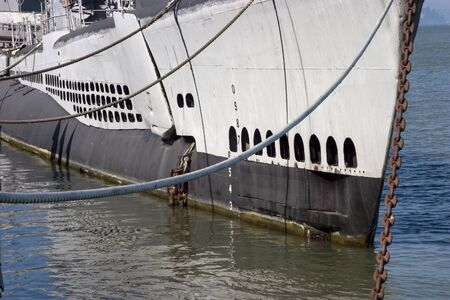 oceanic: An old WWII sub, moored along San Francisco's waterfront. Stock Photo