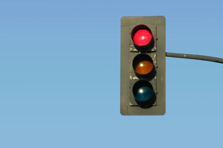 "standstill: A traffic light gives the ""Stop"" signal. Stock Photo"
