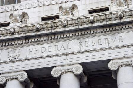 The facade of the Federal Reserve Bank. Banco de Imagens