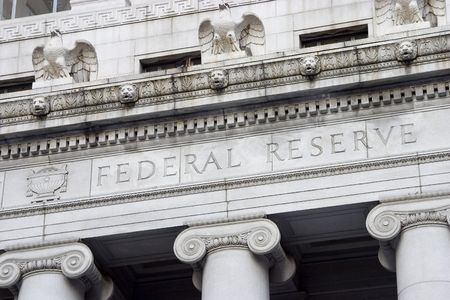 to inflate: The facade of the Federal Reserve Bank. Stock Photo