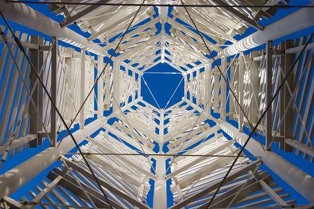 A modern looking metal structure.   Banco de Imagens