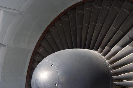 turbofan: Vista detallada de un 747 aviones de turbo-ventilador motor de la ingesta.