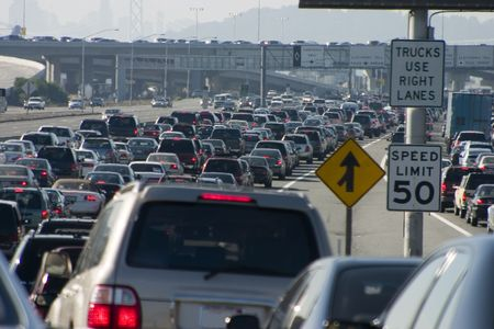 gridlock: Rush-hour traffic approaching the Oakland-San Francisco Bay Bridge.