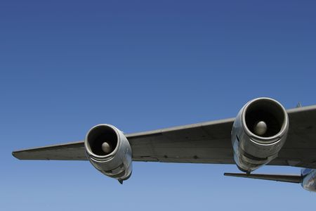 underbelly: A section of a jumbo jet wing. Stock Photo