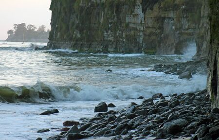 bluff: ocean bluff with rocky shore Stock Photo