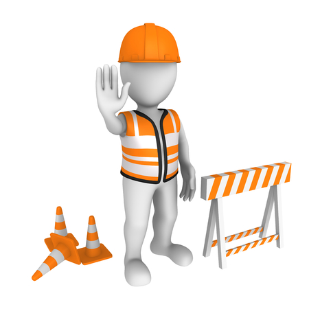 under construction sign with man: stop