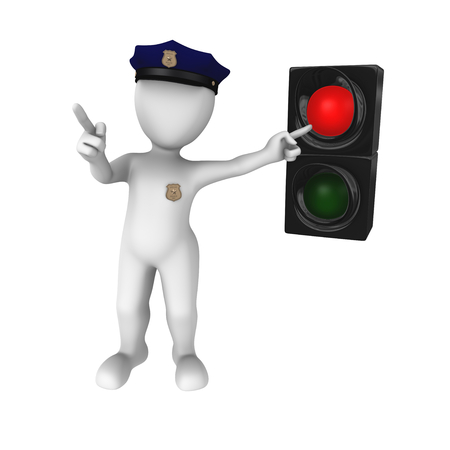 red traffic light: 3d clipart Red traffic light - stop!