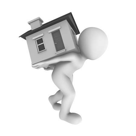 house: 3d clipart person carrying house Stock Photo