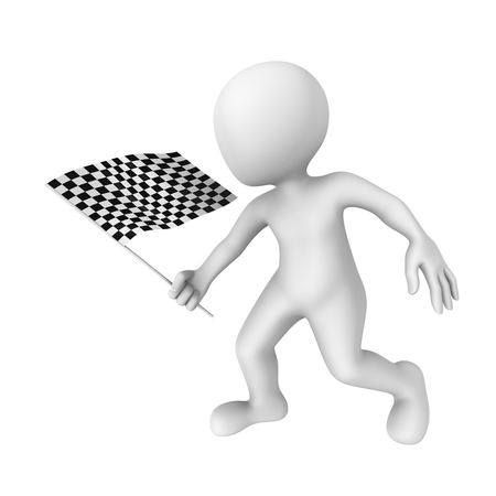 white flag: 3d clipart with checkered flag