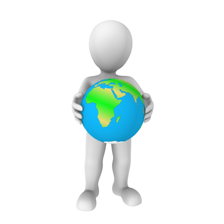 cartoon earth: 3d human with earth Stock Photo