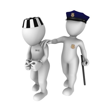 prisoner: The policeman escorts the prisoner