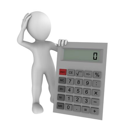 finance background: human with calculator Stock Photo