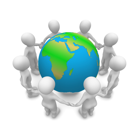 friends together: 3d clipart Save Our Planet!