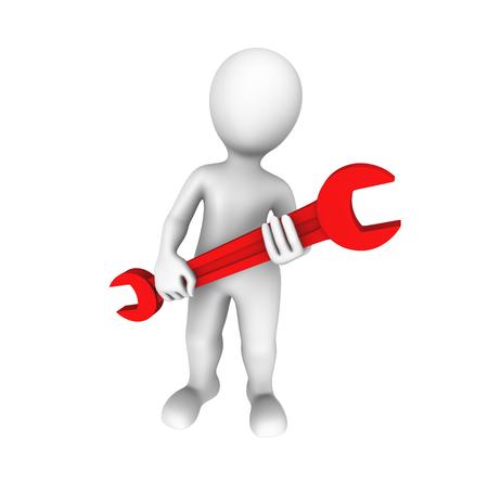 herramientas de construccion: hombre 3D con llave