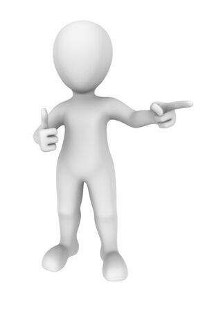 man pointing up: 3d man shows thumbs up gesture and pointing finger Stock Photo