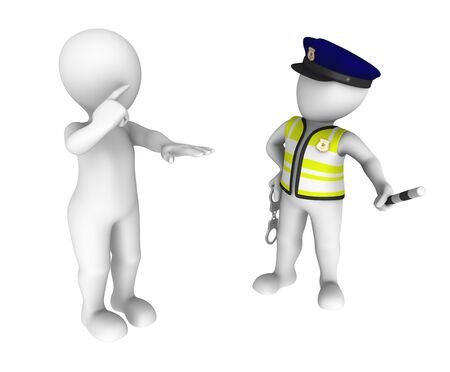 sobriety: 3d policeman and drunk driver. Sobriety test