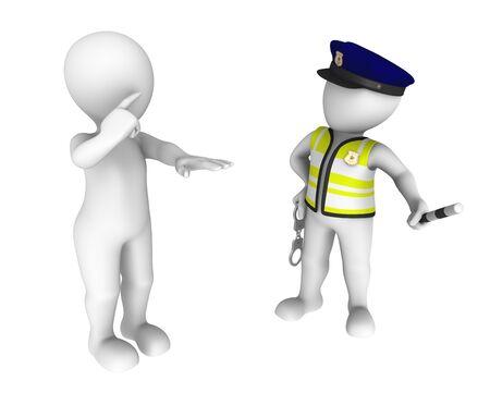 drunk test: 3d policeman and drunk driver. Sobriety test