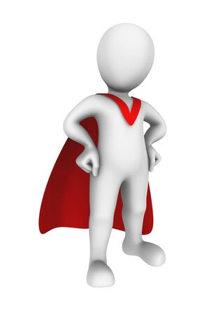 brave: Brave 3d super hero with red cape.