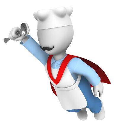 3d chef: 3d super cooking chef flies Stock Photo