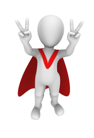 victory: 3d superhero with red cape. Victory gesture.