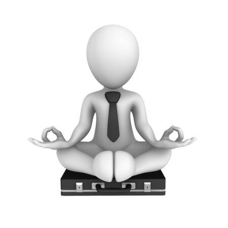 lotus pose: 3d businessman in lotus pose begins meditation. Stock Photo