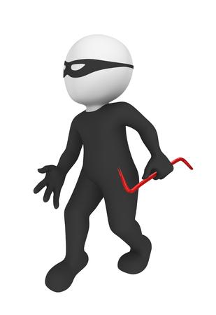 crowbar: 3d criminal with crowbar. Stock Photo