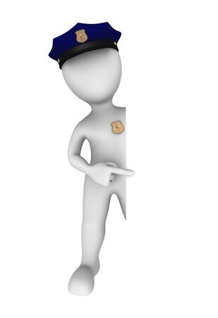 cops: 3d policeman pointing finger to empty board. Stock Photo