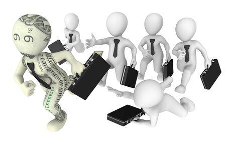 pursuit: 3d business people pursuit to success. Competition concept.