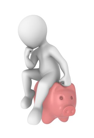 thinks: 3d man with piggy bank thinks. Stock Photo