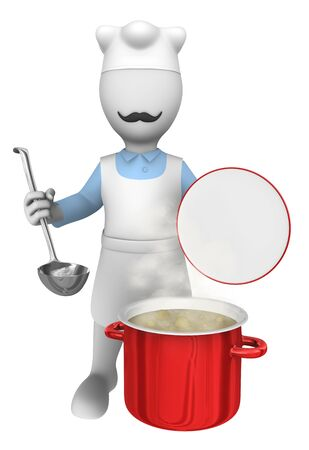 chef 3d: 3d cooking chef with big pan. Stock Photo