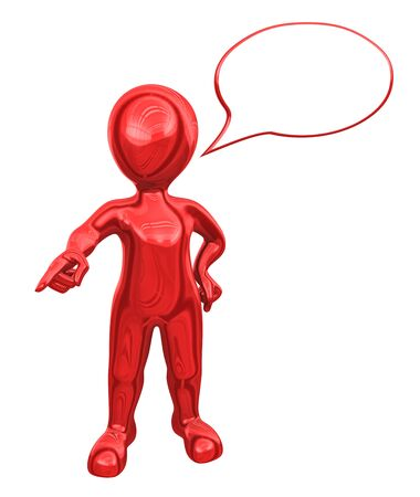 hombre rojo: 3d red man with speech bubble above his head gives the order. Foto de archivo