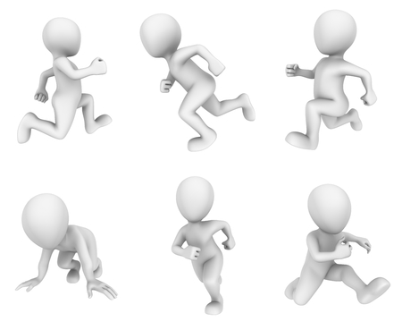 3d running white people.