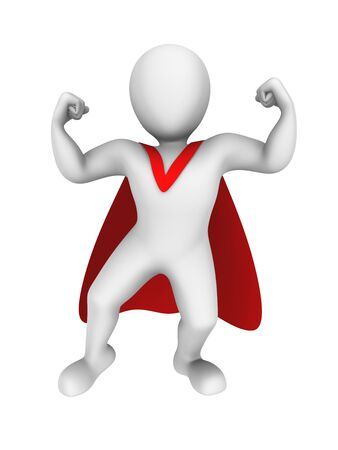 super man: Strong 3d super man with red cape. Stock Photo