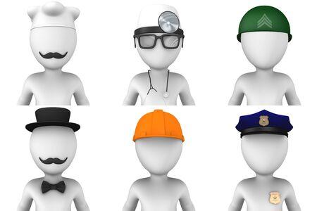 conjurer: 3d avatars of doctor, soldier, cook, worker, policeman, conjurer Stock Photo