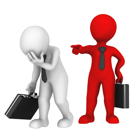 you are fired: Red boss dismisses subordinated. He speaks: you fired! 3d business people.