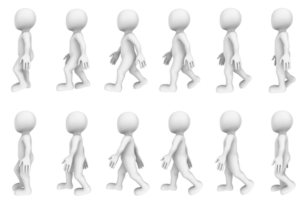 3d walking cycle (3d character animation)