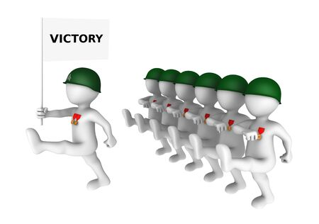 small people: Brave 3d soldiers march on parade with victory flag.