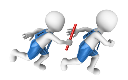 small people: 3d small people with baton. Relay Stock Photo